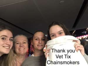 Amy attended The Chainsmokers/5 Seconds of Summer/lennon Stella: World War Joy Tour on Dec 1st 2019 via VetTix