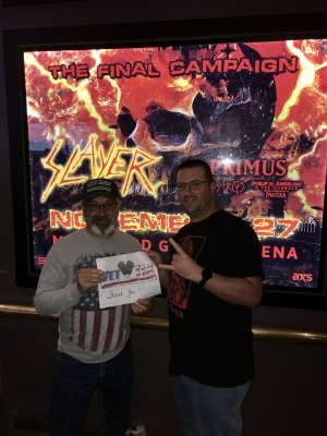 MICHAEL attended Slayer the Final Campaign at MGM Grand Garden Arena on Nov 27th 2019 via VetTix
