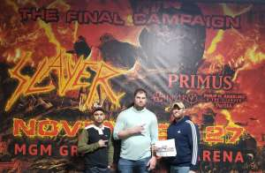 Slayer attended Slayer the Final Campaign at MGM Grand Garden Arena on Nov 27th 2019 via VetTix