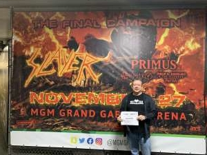 Lorenzo attended Slayer the Final Campaign at MGM Grand Garden Arena on Nov 27th 2019 via VetTix