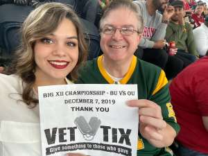 Patrick attended Big 12 Championship: Oklahoma Sooners vs. Baylor Bears - NCAA Football on Dec 7th 2019 via VetTix