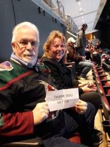 William attended Arizona Coyotes vs. Chicago Blackhawks - NHL on Dec 12th 2019 via VetTix