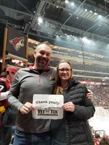 Lindsay attended Arizona Coyotes vs. Pittsburgh Penguins - NHL on Jan 12th 2020 via VetTix