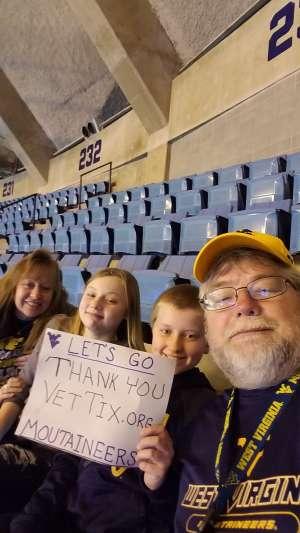 Toby  attended West Virginia University vs. Texas Christian University - NCAA Men's Basketball on Jan 14th 2020 via VetTix