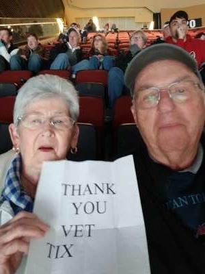 Chuck attended Arizona Coyotes vs. Carolina Hurricanes - NHL on Feb 6th 2020 via VetTix