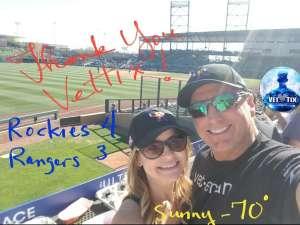 USA Rodman attended Colorado Rockies vs. Texas Rangers - MLB ** Spring Training ** Lawn Seats on Feb 26th 2020 via VetTix