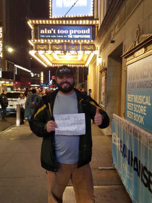 Dominick attended Ain't Too Proud -the Life and Times of the Temptations on Feb 11th 2020 via VetTix