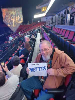 Thomas attended Kiss: End of the Road World Tour on Feb 25th 2020 via VetTix
