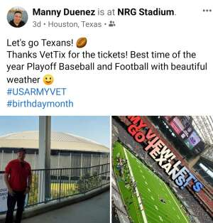 Manny attended Houston Texans vs. Minnesota Vikings - NFL on Oct 4th 2020 via VetTix