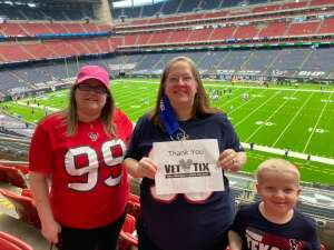 Sarah attended Houston Texans vs. Minnesota Vikings - NFL on Oct 4th 2020 via VetTix