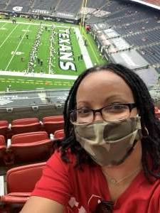 SSgt Nagina Stoddart attended Houston Texans vs. Jacksonville Jaguars - NFL on Oct 11th 2020 via VetTix