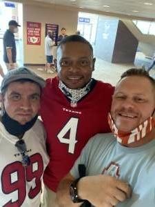 Staats attended Houston Texans vs. Jacksonville Jaguars - NFL on Oct 11th 2020 via VetTix