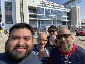 Hector R. Giron attended Houston Texans vs. Jacksonville Jaguars - NFL on Oct 11th 2020 via VetTix