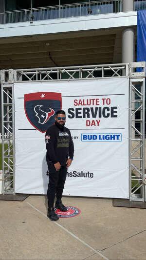 J Manuel  attended Houston Texans vs. New England Patriots - NFL on Nov 22nd 2020 via VetTix