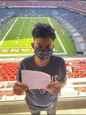 Crystal T. attended Houston Texans vs. Indianapolis Colts - NFL on Dec 6th 2020 via VetTix