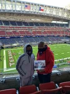 Sean Nelson attended Houston Texans vs. Indianapolis Colts - NFL on Dec 6th 2020 via VetTix