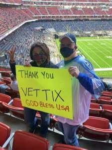 Lizel attended Houston Texans vs. Tennessee Titans - NFL on Jan 3rd 2021 via VetTix