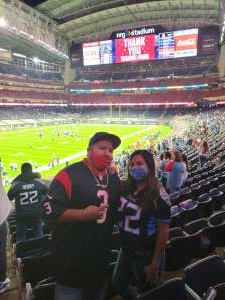 Moreno attended Houston Texans vs. Tennessee Titans - NFL on Jan 3rd 2021 via VetTix