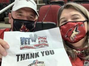 Kyle attended Arizona Coyotes vs. Anaheim Ducks on Feb 22nd 2021 via VetTix