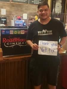 Pete attended Roadhouse Cinemas Thursday for Vets on Apr 1st 2021 via VetTix