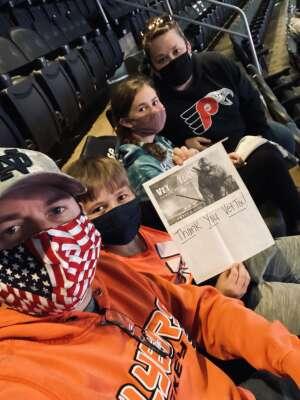 Mason Family attended Philadelphia Flyers vs. New Jersey Devils - NHL ** Military Appreciation Night ** Please Read Event Notes ** on May 10th 2021 via VetTix