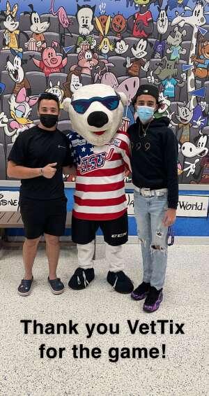Mattheus Tiger attended Orlando Solar Bears vs. Greenville Swamp Rabbits - ECHL - Military Appreciation Night on May 8th 2021 via VetTix