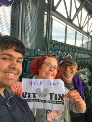 Cynthia attended Colorado Rockies vs. Texas Rangers - MLB on Jun 1st 2021 via VetTix