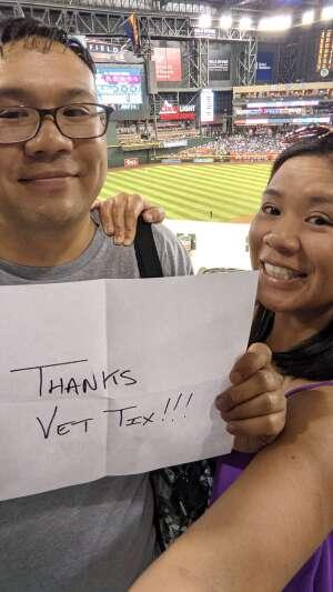 Tonnie attended Arizona Diamondbacks vs. Los Angeles Dodgers - MLB on Jun 18th 2021 via VetTix