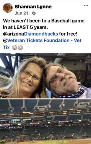 Shannan Snyder attended Arizona Diamondbacks vs. Milwaukee Brewers - MLB on Jun 21st 2021 via VetTix