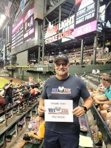 Hank attended Arizona Diamondbacks vs. San Francisco Giants - MLB on Jul 3rd 2021 via VetTix
