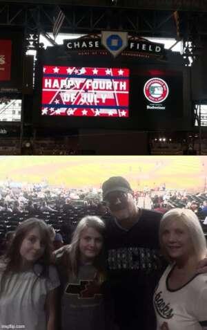 Mark Killinger attended Arizona Diamondbacks vs. San Francisco Giants - MLB on Jul 4th 2021 via VetTix