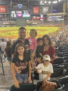 Armando Hugues attended Arizona Diamondbacks vs. San Diego Padres - MLB on Aug 13th 2021 via VetTix