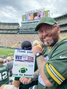 Rudy Hanson attended Green Bay Packers vs. New York Jets - NFL Preseason on Aug 21st 2021 via VetTix
