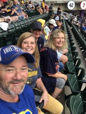 MSgt Donna Loeffler, Retired attended Minnesota Twins vs. Milwaukee Brewers - MLB on Aug 28th 2021 via VetTix