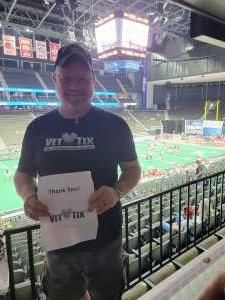 Adam attended Jacksonville Sharks vs. Carolina Cobras - National Arena League - Military Appreciation Game on Jul 24th 2021 via VetTix