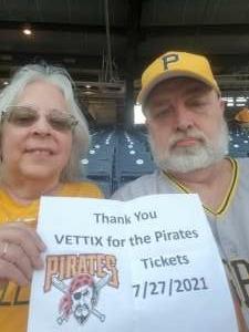 Duane attended Pittsburgh Pirates vs. Milwaukee Brewers - MLB on Jul 27th 2021 via VetTix