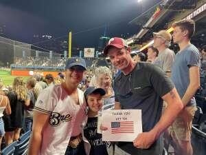 Wruck Family attended Pittsburgh Pirates vs. Milwaukee Brewers - MLB on Jul 27th 2021 via VetTix