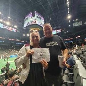 Geoff & Jewels attended Arizona Rattlers vs. Frisco Fighters on Aug 21st 2021 via VetTix