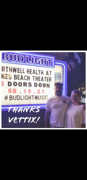 Adam  attended 3 Doors Down - the Better Life 20th Anniversary Tour on Aug 19th 2021 via VetTix