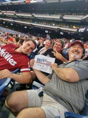 Frank attended Philadelphia Phillies vs. Arizona Diamondbacks - MLB on Aug 26th 2021 via VetTix