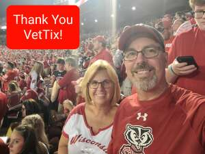 Mike and Arlene attended University of Wisconsin Badgers vs. Eastern Michigan - NCAA Football on Sep 11th 2021 via VetTix
