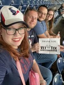Alexandria  attended Houston Texans vs. Jacksonville Jaguars - NFL on Sep 12th 2021 via VetTix