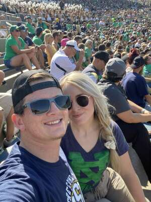 Erik attended Notre Dame Fighting Irish vs. Purdue Boilermakers - NCAA Football on Sep 18th 2021 via VetTix