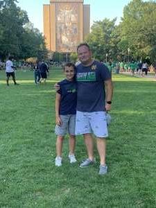 Hank attended Notre Dame Fighting Irish vs. Purdue Boilermakers - NCAA Football on Sep 18th 2021 via VetTix