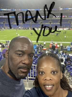 S. Truelove attended Baltimore Ravens vs. Indianapolis Colts - NFL on Oct 11th 2021 via VetTix